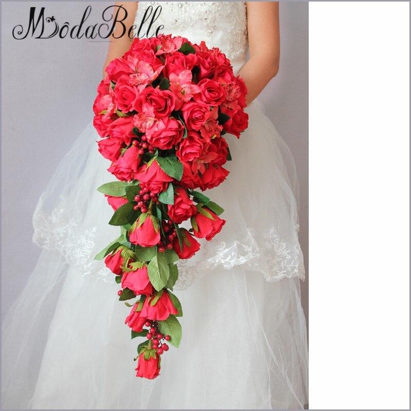 Cascade Bouquet Silk Wedding Flower: Aliexpress.com : Buy 2016 Customized Red Bridal Bouquet