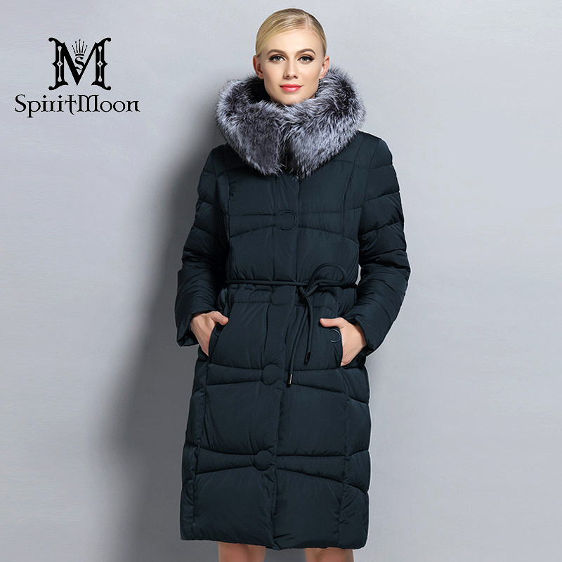 Winter Women Thickening Bio Down Jacket Long Female Hooded Coat Down   Parka   With Natural Silver Fox Fur Collar Plus Size 5XL 6XL