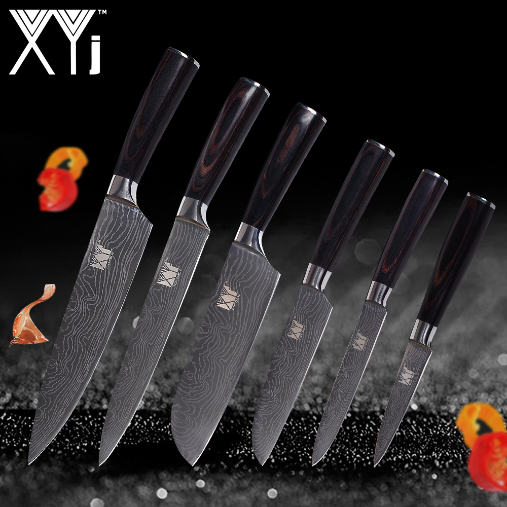 XYj Cuisine Couteaux De Cuisine Ensemble Épluchage Utilitaire 2 * Santoku Chef À Trancher En Acier Inoxydable Couteaux Manche En Bois Cuisine Cuisson Outils