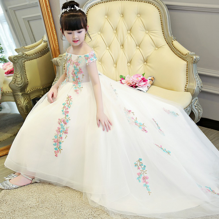 2017New High Quality Luxury Girls Children Embroidery Flowers Princess Dress Children Elegant Wedding Birthday Party Tail Dress