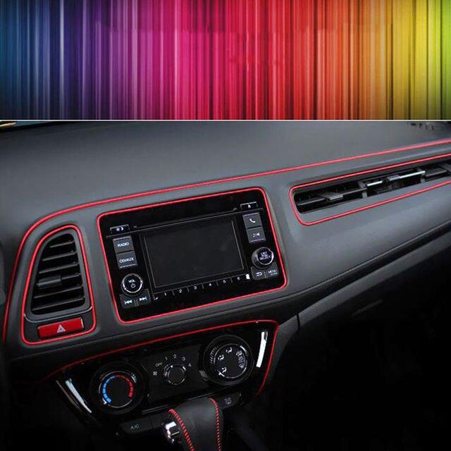 Nueva calidad superior 5 m coche interior chapado rojo borde gap l nea adornar moldeo punto - Decoracion interior coche ...