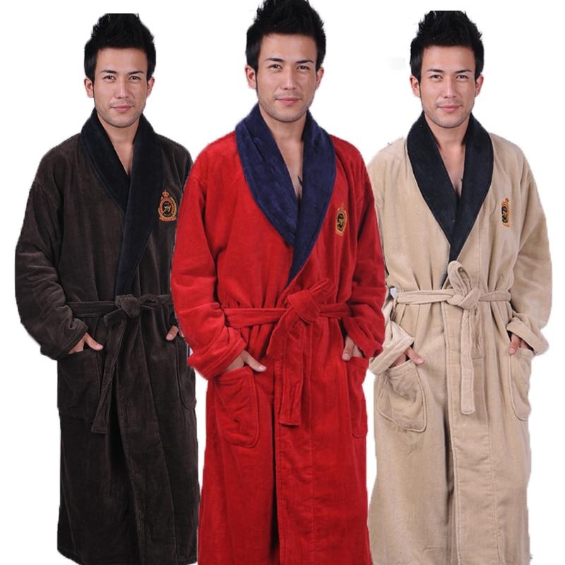 """Medvilninis chalatas vyrams """"Winter Long"""" plius """"XXXL"""" vyriški kilpiniai kilpiniai naktiniai marškiniai su storu rankšluosčiu, miego drabužiai, minkšti ilgi chalatai, ruduo"""