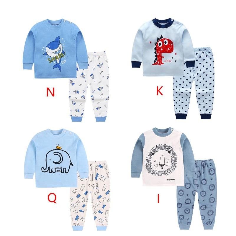 2018 Cute Kids Pajamas Set With Long Sleeves And Long Pants Animal+cartoon Printed For Boys Clothing Set