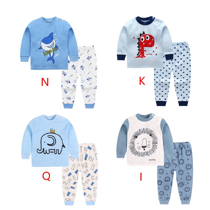 2018 Cute Kids pajamas set with long sleeves and long pants animal+cartoon printed for boys clothing set image