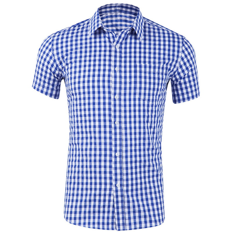 HEFLASHOR Men Small Plaid Dress Shirt Summer Long Sleeve Comfortable Tops Soft High Quality Pure Cotton Thin Slim-fit Blouses