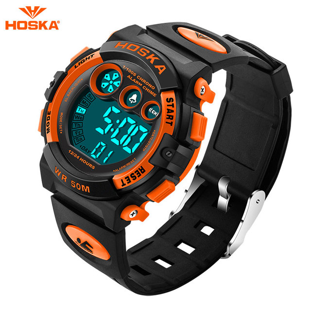 2017 Relogios Masculino HOSKA Outdoor Swim Display Sports Watches Kids Men LED Digital Multifunction Men's Military Wristwatch