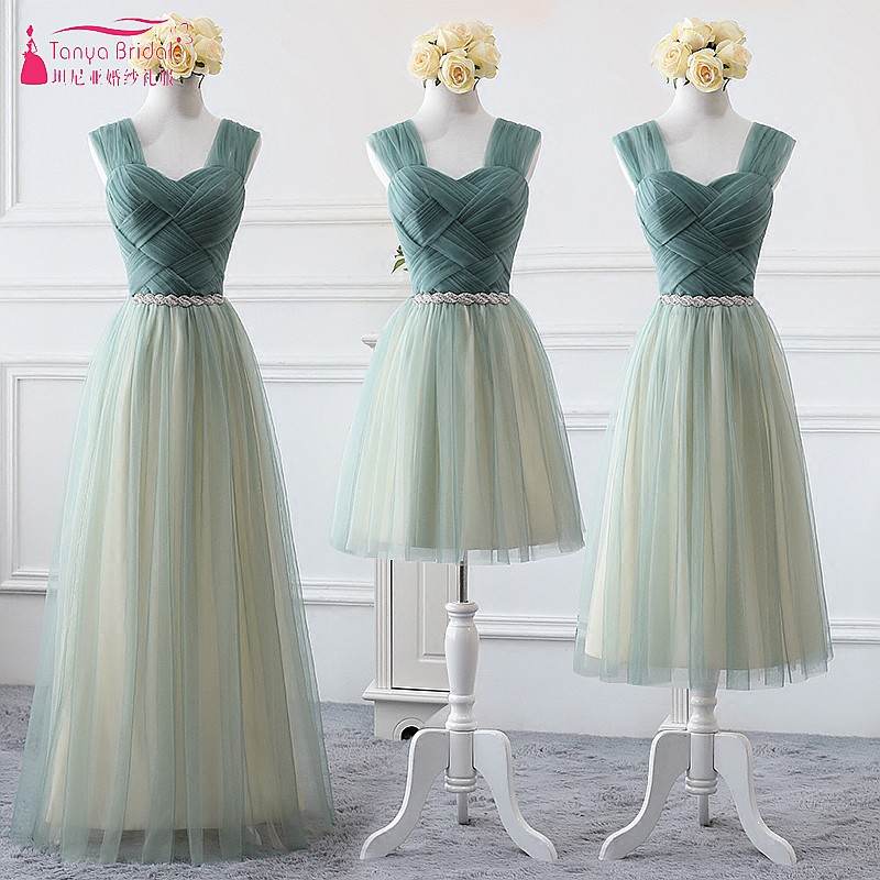 Dress   For Wedding Party 2018   Bridesmaid     Dresses   Vestido de festa sage Green Tulle Formal Prom Gown   Bridesmaids     Dress   DQG444