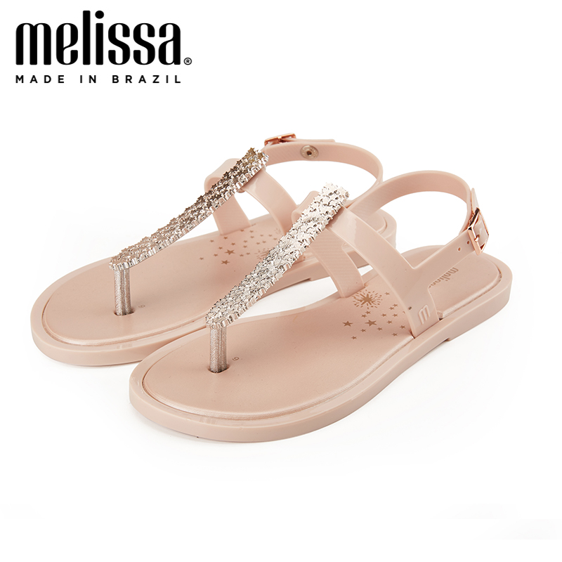 Melissa 2019 New Summer Sandals Women Flat Slip On Solid Bling Crystal Rhinestones Chains Bohemia Casual