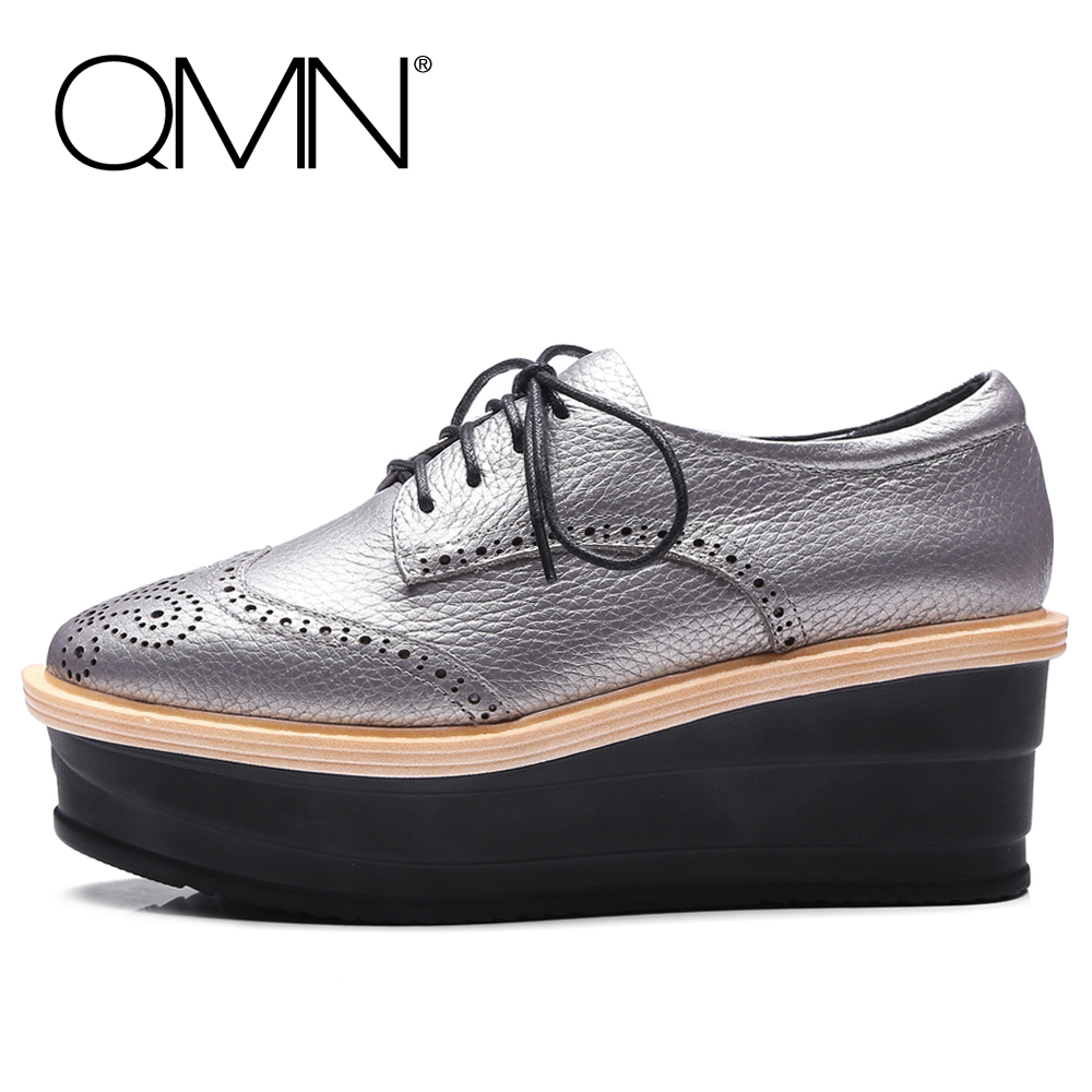 QMN women genuine leather platform flats Women Laser Cut Square Toe Brogue Shoes Woman Oxfords Women Leather Creepers 34-42 qmn women brushed leather platform brogue shoes women round toe lace up oxfords flat casual shoes woman genuine leather flats
