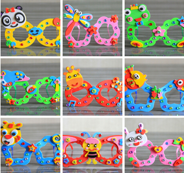 1set Educational Eva Foam Sticker Glasses DIY Craft Kit Creative Kindergarten Toys Birthday Party Gift For Kids Children