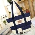 Mulheres Listrado Lona Saco de Praia Compras Big Bags para Senhoras Sac Femme Grande Capacidade bolsa de Ombro e Sacola Bolsa de Praia bolsa