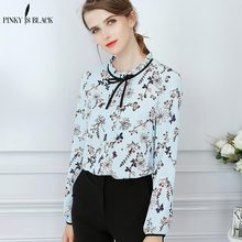 Pinky Is Black Summer Women Blouses Tied Neck Print Flower Blouse Long Sleeve Stand Collar Spring 2019 Elegant Top Blusas