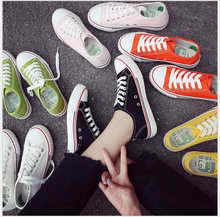 Women Shoes 2017 Spring Summer New Women's Casual Shoes Fashion Flats Low Lace up candy color Canvas Shoes Woman Size 35-40
