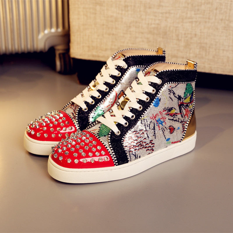 5f0edfce71fb OLOME High Cut Red patent leather cl Mixed Colors glitter Lace up Red  bottoms shoes For