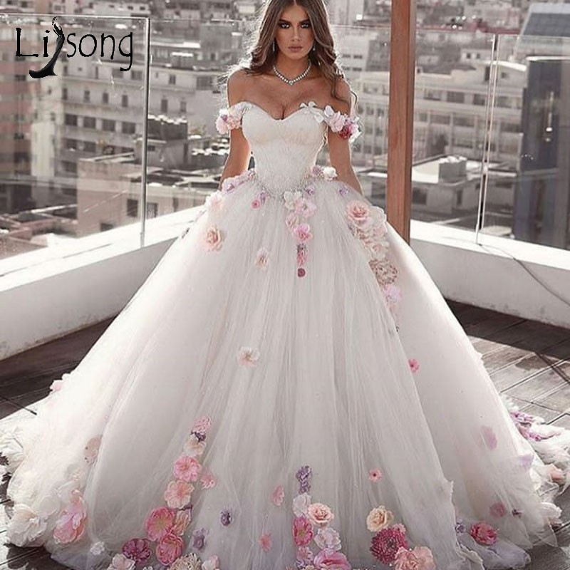 Romantic Colorful 3D Flower Wedding Dresses Lace Beaded Puffy Bridal Dress Off The Shoulder Ball Gown Robe De Mariee