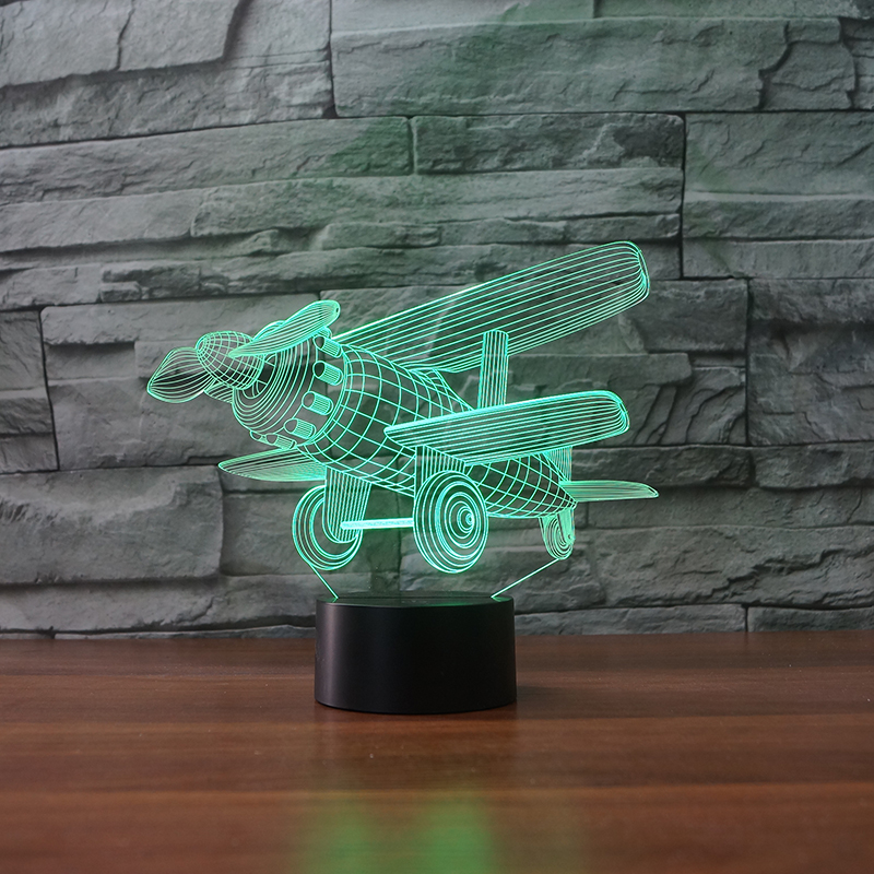 LED Funky Airplane Lamp 7 Changing Colors 3d illusion night lamp image