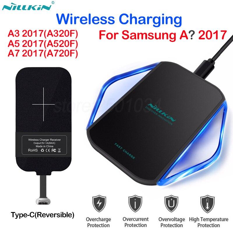 Nillkin Qi Sans Fil Chargeur + Micro USB C Type-C De Charge Récepteur Sans Fil De Charge pour Samsung A3 A5 A7 2017 A320F A520F A720F