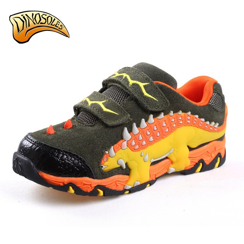 Dinoskulls Toddler Breathable Children Shoes Boys Shoes Kids Leather 2017 Led Luminous Sneakers 3D Dinosaur Sneakers