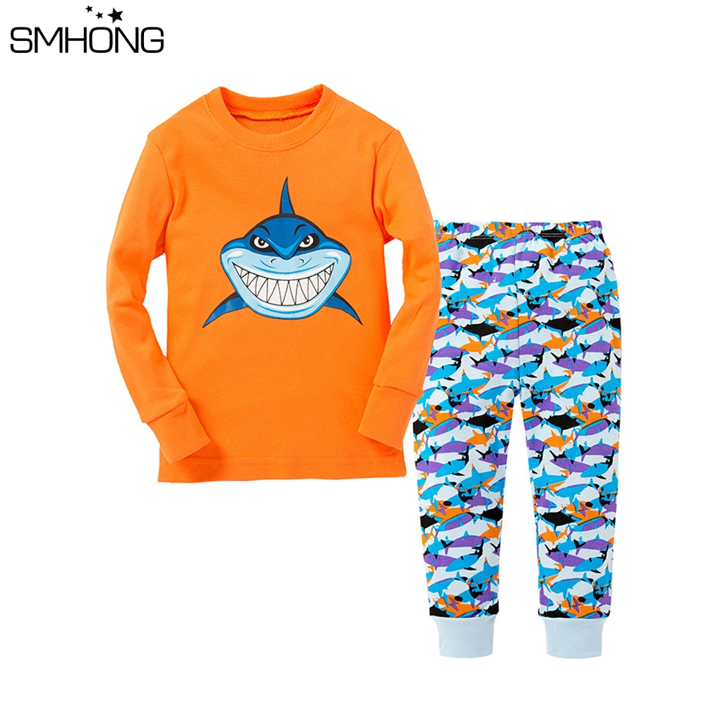 Girls Short Sleeve Baby Shark Pajamas Set Cartoon Costume Sleepwear Nightwear