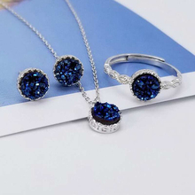 Ruifan Blue Round Natural Agate Druse Necklace/Earrings/Ring Sets 100% 925 Sterling Silver Wedding Jewelry Set for Women YJS030