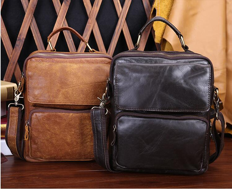 2018 new first layer cow leather men's casual messenger bag vintage genuine leather male shoulder bag, European & American type qiaobao 2018 new korean version of the first layer of women s leather packet messenger bag female shoulder diagonal cross bag