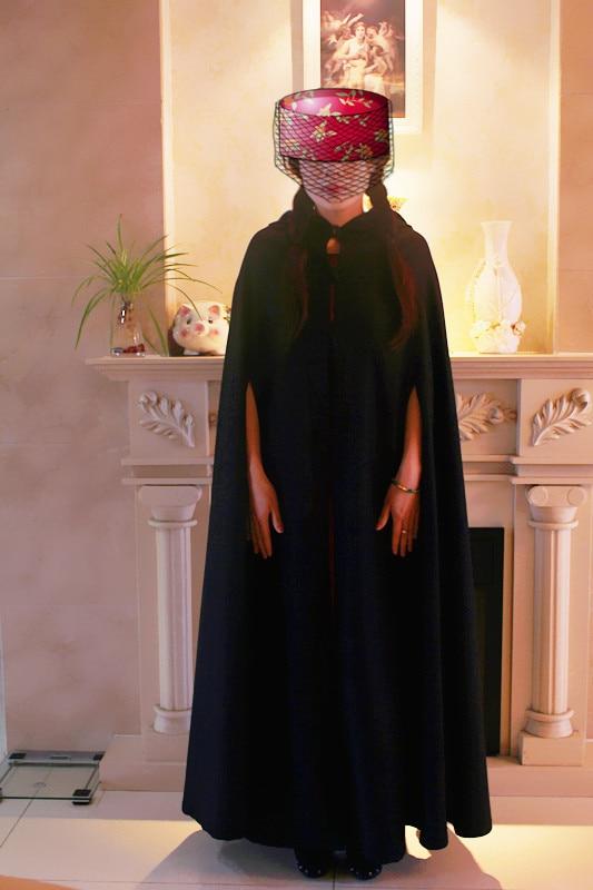 สีดำทำด้วยผ้าขนสัตว์หน้ากากโกธิคฮาโลวีนปาร์ตี้ผู้ใหญ่โกธิคคลุมด้วยผ้าเสื้อคลุมนิกายเสื้อคลุมยุคคาถา Larp เคปฮาโลวีนขนาด S-XL