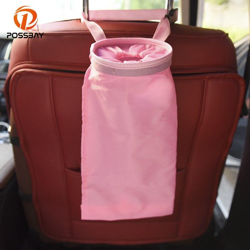 Bolsa de basura de almacenamiento de coche POSSBAY impermeable bolsillo de viaje asiento trasero almacenamiento colgante organizador de basura accesorios de coche