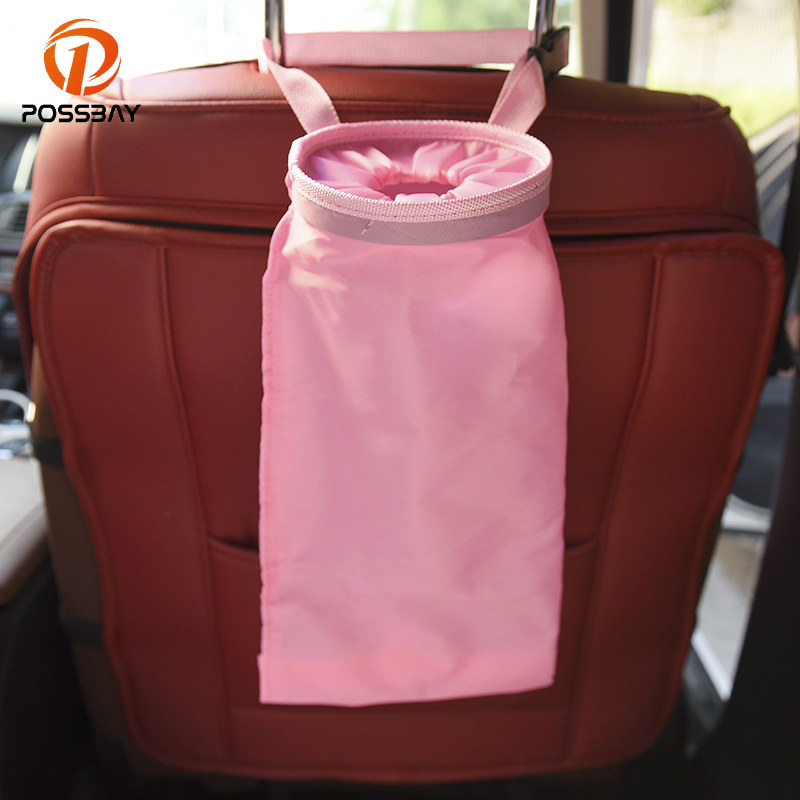 POSSBAY Car Storage Bin Trash Bag Waterproof Travel Pocket Auto Seat Back Storage Hanging Organizer Garbage Bin Car Accessories