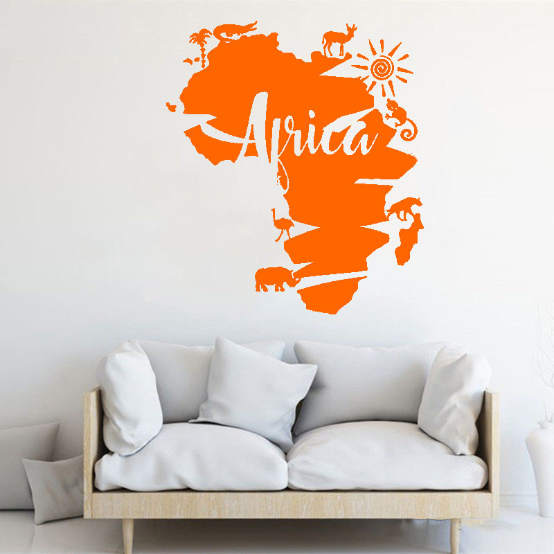 US $7.33 26% OFF|Creative Modern Interior Wall Sticker Africa Map Animal  Poster Mural Removable Design Art Decals Adhesive Ornament LY1474-in Wall  ...