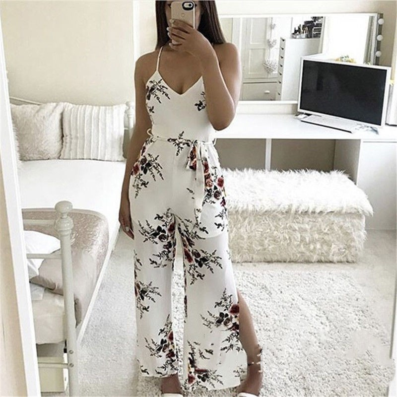 2018 USA Women Floral Strappy Jumpsuit Ladies Sexy Side Slit Print Bodycon Jumpsuits Romper Trouser Holiday Beachwear Clubwear