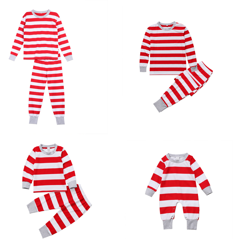 Xmas Stripe Family Matching Christmas Pajamas PJs Sets Xmas Sleepwear Nightwear Tops +Pants Outfits Family Photograph Props