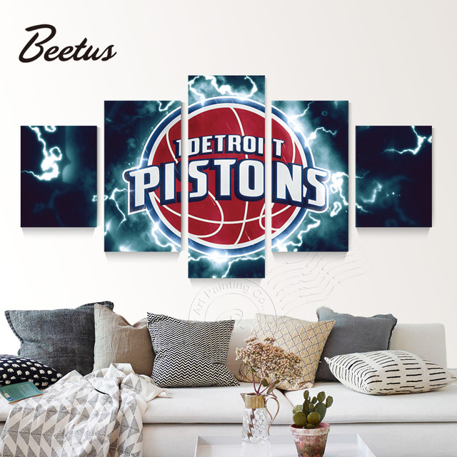 Basketball Sports Canvas Prints Detroit Pistons Sport Logo Painting 5 Panel Wall  Art Game Oil Painting