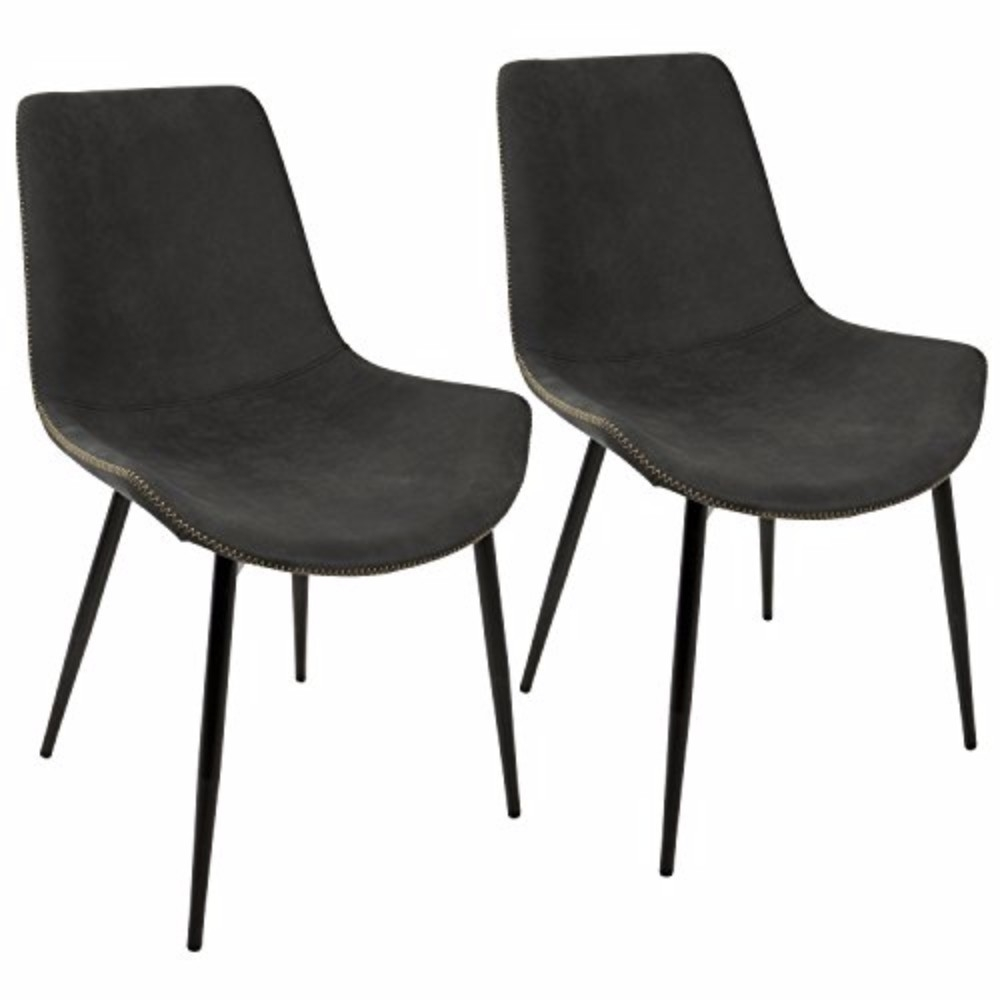 Duke Industrial Dining Chair in Black and Grey by LumiSource-Set of 2 цены онлайн
