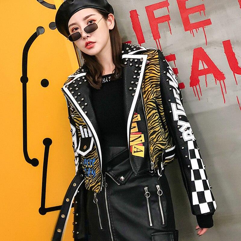 Punk Style Faux   Leather   Jacket Women Zebra Wave Rivet PU Coats 2019 New Fashion Streetwear Short Women's Biker   Leather   Jacket