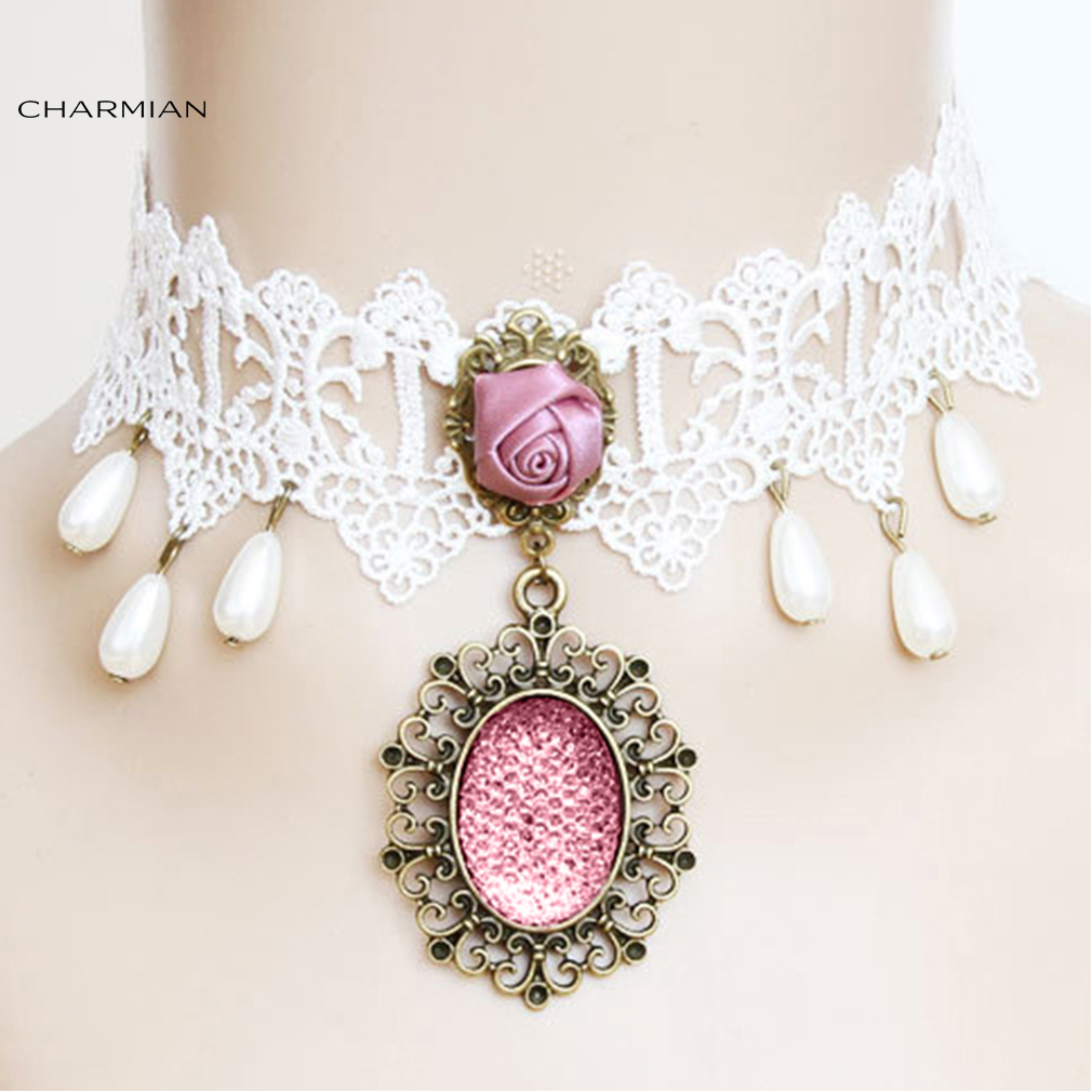 Charmian Victorian White Lace Tassel Pendant Pearl Wedding Party Princess Choker Necklace Accessories