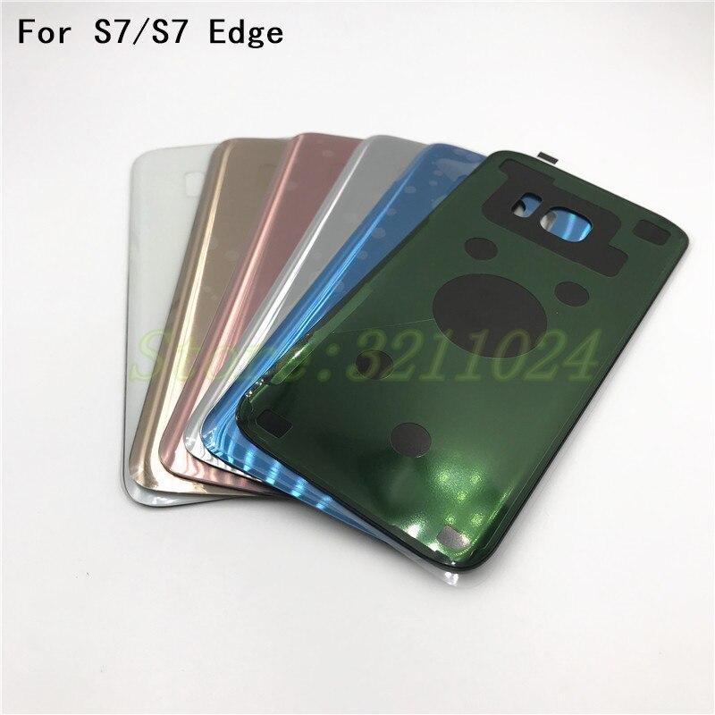 Für Samsung Galaxy S7 G930/S7 Rand G935 Glas Hinten Zurück Batterie Tür Gehäuse Abdeckung 3 mt Kleber Ersatz reparatur Ersatzteile + Logo