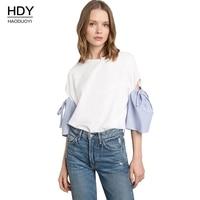 Haoduoyi Donna Bluse 2018 Nuova Camicia Bianca Donna Top Manica breve Stile Europeo Graziosa Cut-Out Lace up Camicetta Delle Donne Blusas