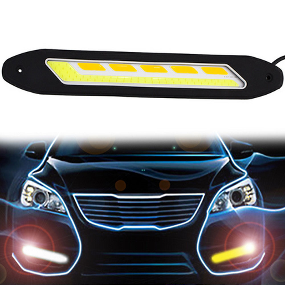 2PCS Car LED Daytime Running Lights DRL Turn Signal Light Indicator COB Car-styling Fog Lights White and Yellow Flexible flexible 3w 132lm 6 smd 5050 led white car decorative daytime running light 12v 2 pcs