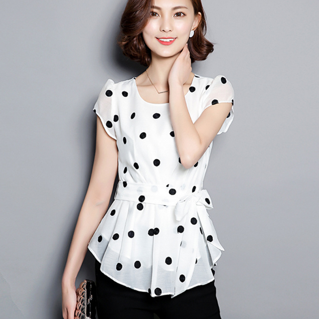 Shirt Womens Polka Dots Chiffon Blouse 2017 Summer Tops Female Shirts Womens Tops Short Sleeve Elegant Chiffon Feminine Blouses
