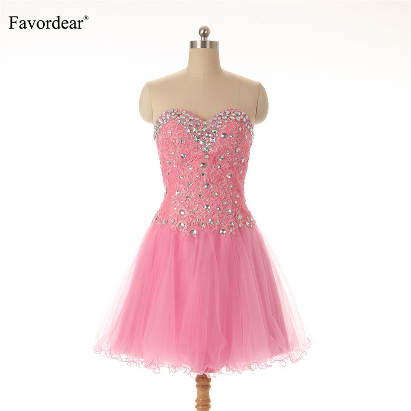 Favordear 2019 New Sparkly beadings Lace Applique Formal   Dress   Sweetheart Lace up   Cocktail     Dresses   vestidos cortos para fiesta