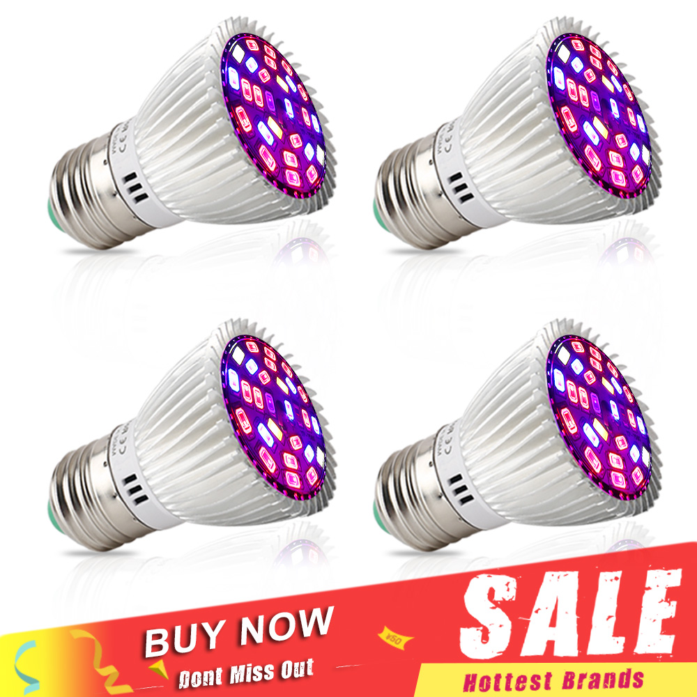 4ks / Lot Plné spektrum 28W LED Grow Light E27 E14 GU10 SMD5730 rostlinná lampa pro sazenice Vegs Flower Hydroponics Growing Bulbs