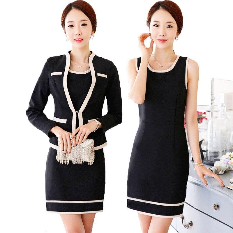 Blazer Beige Robes Ol Costumes noir 3xl Nouvelle Professionnel Sans Noir Ensemble Robe Beige Professionnelle Graceful S Manches Coréenne Mode Femmes q7Owt4U