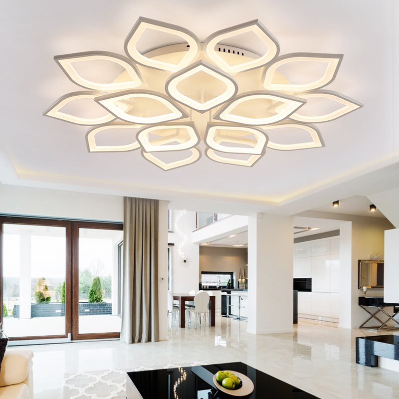 110 220v aluminum lotus led ceiling light plafonnier led for Decoration maison aliexpress