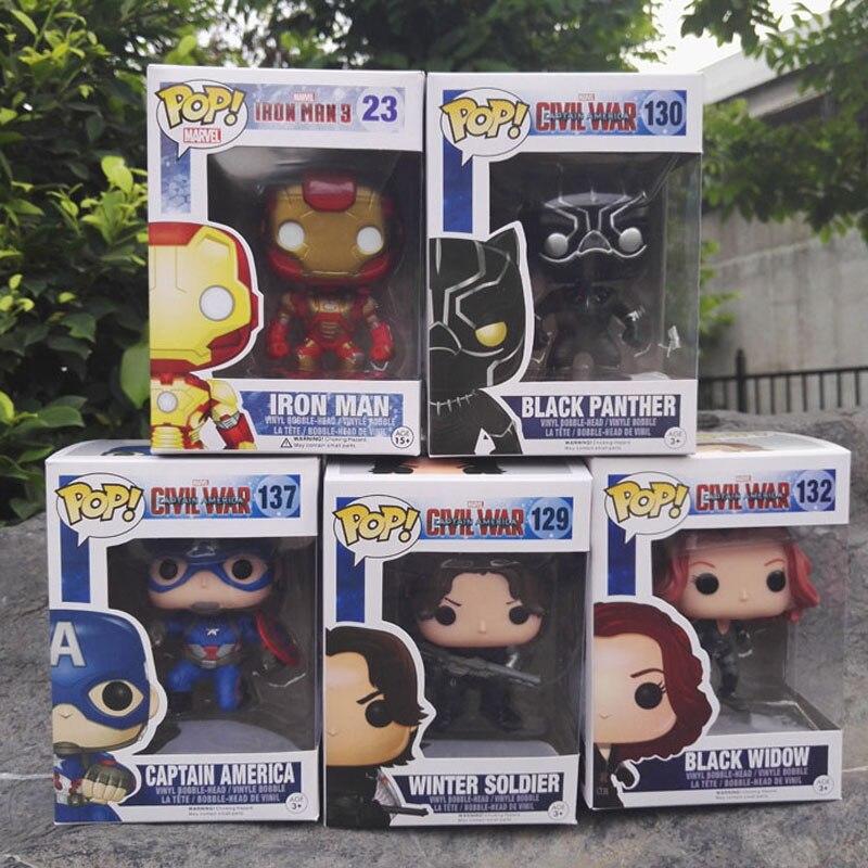 FUNKO POP Captain America 3 Civil War Black Window Iron Man Winter Soldier Avengers 10CM PVC Figure Collection Toy Doll for kids