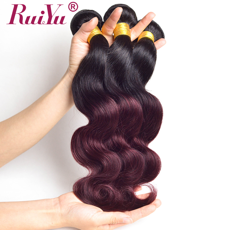RUIYU Hair Ombre Brazilian Body Wave Hair Weave Bundles T1B/99j Burgundy Two Tone Ombre Human Hair Extensions Non Remy Hair