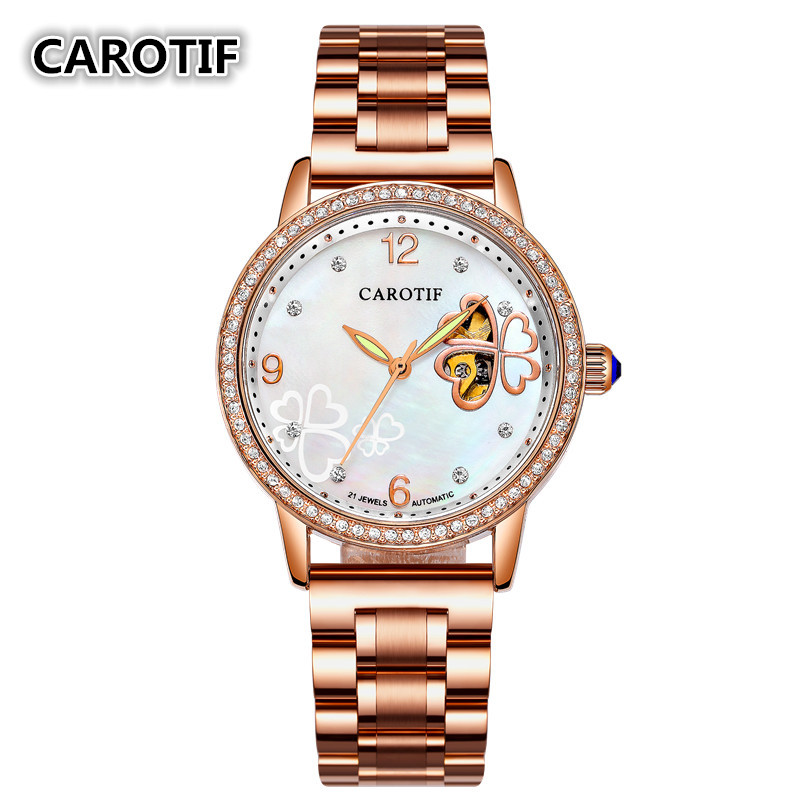 New Arrived Gold Design Automatic Mechanical Women Watch Fashion Diamond Surface Sapphire Watch Women Ladies WristwatchesNew Arrived Gold Design Automatic Mechanical Women Watch Fashion Diamond Surface Sapphire Watch Women Ladies Wristwatches