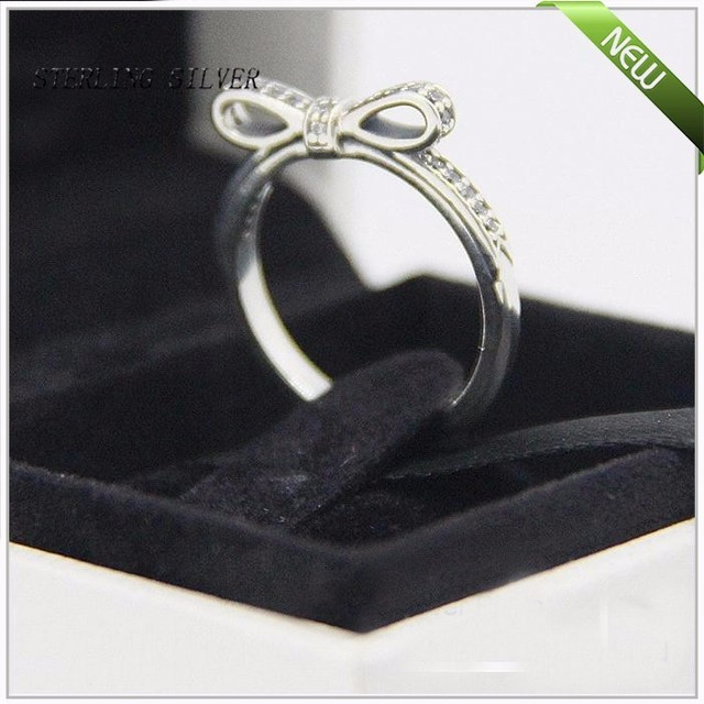 Sparkling Bow Rings With Clear Cubic Zirconia 100% 925 Sterling Silver Fine Jewelry Free Shipping