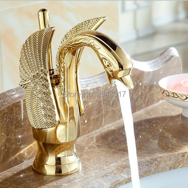 Золотой Лебедь Кран Ванная комната Роскошный Европейский Стиль Carving раковиной смесители на бортике torneira banheiro ZR475