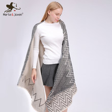 Marte&Joven Wave Pattern Double Face Imitation Cashmere Warm Brand Pashmina Shawls for Women Fashion Thicken Winter za Scarves(China)