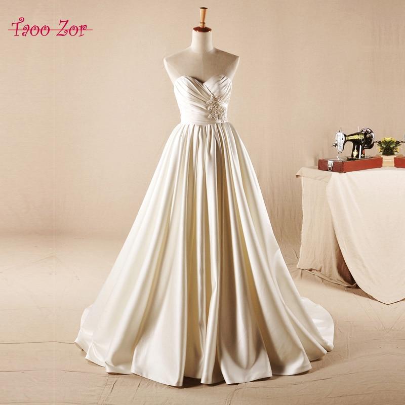 TaooZor Solemn Satin A-line Wedding Dresses 2017 Honorable Pearls Beading on Waist Pleat Sweetheart Neckline Vestido De Noiva